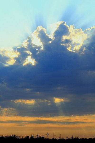 crepuscular rays Before Sunset Crepuscular Rays Angel's Ladder Sunshine Cloudscape Sky Ataka