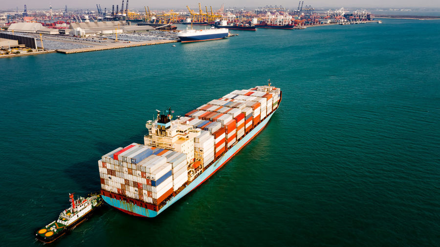 Container cargo ship business commercial trade import export logistic transportation container box