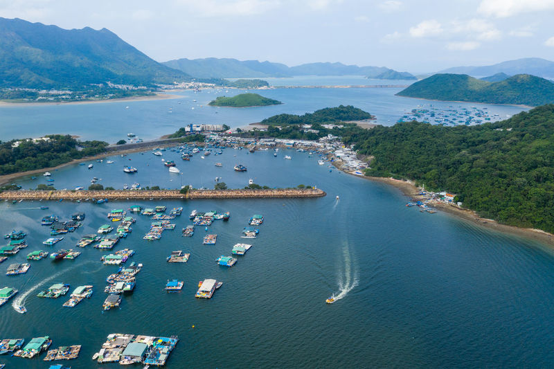 Hong Kong View Aerial Tai  Po Sam MUN Tsai Village Kong Hong Landscape Nature TOLO Sea Skyline Blue Green Harbour Boats Cove Má Shan Plant Travel Tourism City Park Building Beach Science Sand Hk HongKong Typhoon Shelter Seascape Ocean Top Fly Drone  Over Above Down Top Down