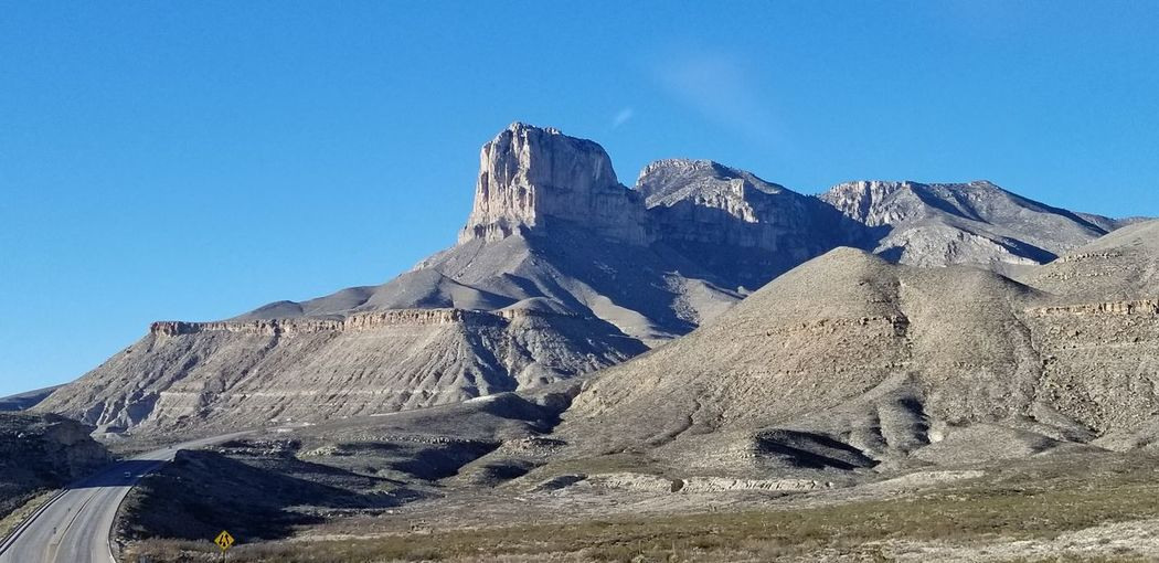 Guadalupe Mountains National Park Mountains Texas Beauty In Nature Mountain Blue Clear Sky Mountain Peak Rock - Object Sunny Sky Mountain Range Geology Rock Formation Rugged Rocky Mountains Arid Landscape