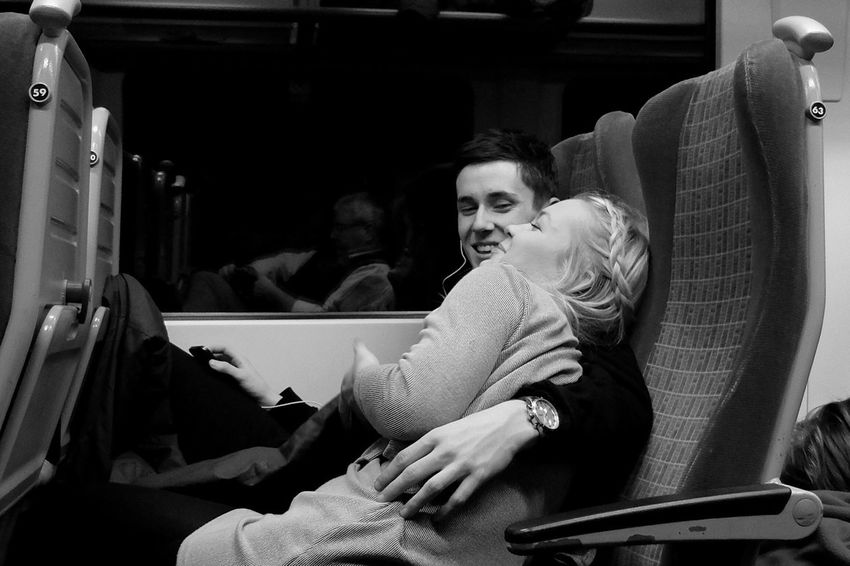 Love on the 23:05 from Waterloo. Railways Black & White After Dark