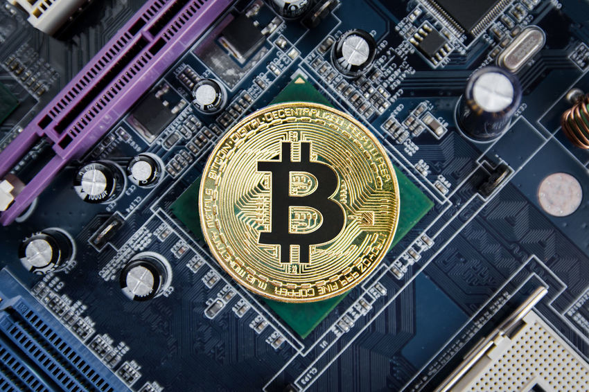 Golden Bitcoin coins on Motherboard, miner with circuit board, pool Cryptocurrency CPU Electronic Gold Bank Bitcoin Bitcoin Miner Buy Circuit Board Computer Computer Chip Connection Cryptocurrency Digital E Commerce Electronics Industry Exchange Finance Hardware Miner Network Technology Trade