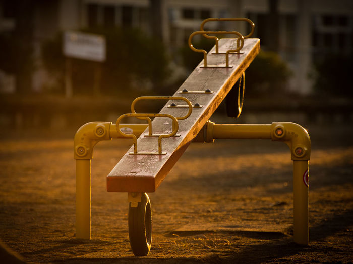 Close-up of seesaw