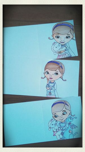 ArToni hand drawn and painted in water colours, Docmcstuffins cards