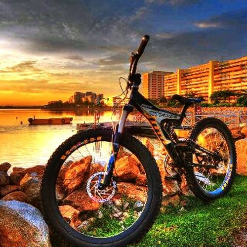 Beauty In Nature Bicycle Sunset Outdoors Indonesian_java