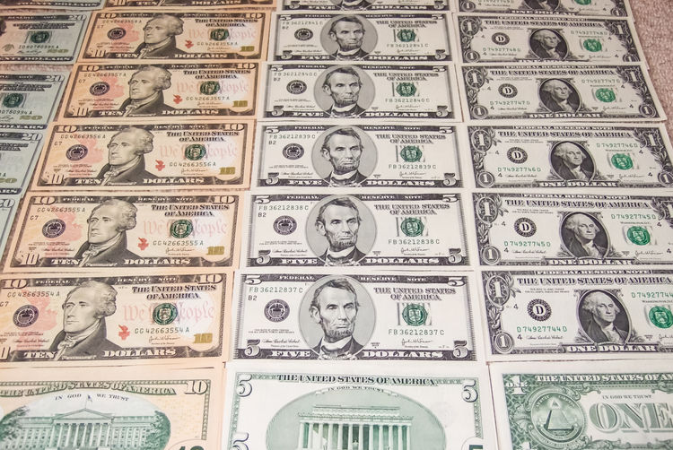 Currency Backgrounds Paper Currency Full Frame Wealth Finance Business Large Group Of Objects No People Abundance In A Row Indoors  Repetition Pattern Number Human Representation Exchange Rate Making Money Luxury Dollar Sign Economy