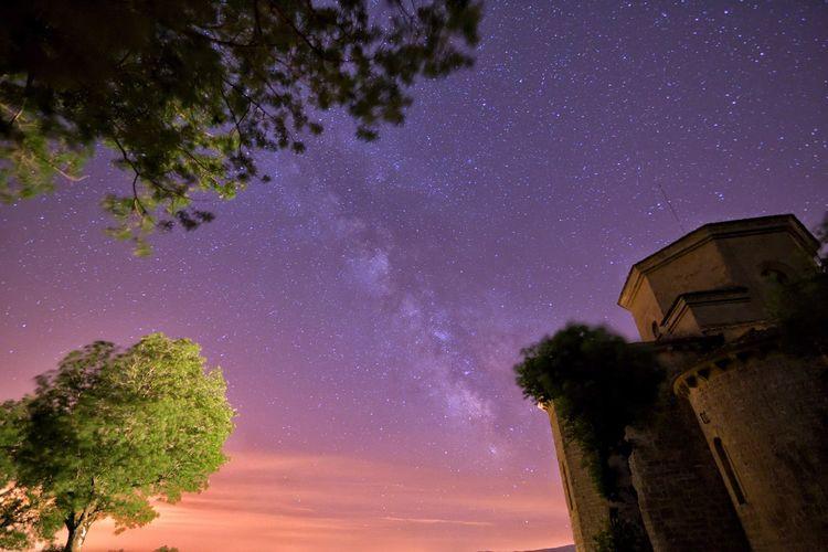 Low Angle View Of Santuario De San Miguel De Aralar Against Starry Sky