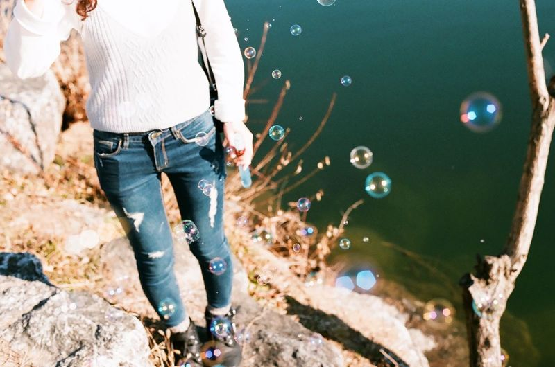 Afternoon Snap Analogue Photography Film Canon Light And Shadow Capture The Moment Sunny Day Fashion Jeans Fujicolor Girl Enjoying Life Bubbles Playing Riverside Nature Daily