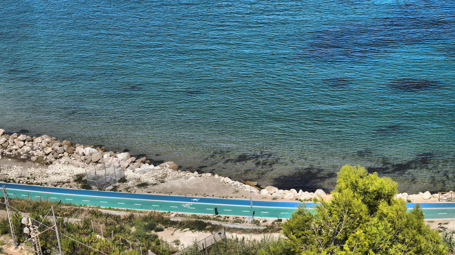 Bicycle Path Pedestrian Path Adriatic Coast Adriatic Sea Along The Coastline Beach Beauty In Nature Blue Day High Angle View Idyllic Land Outdoors Sea Tree Two Paths Water