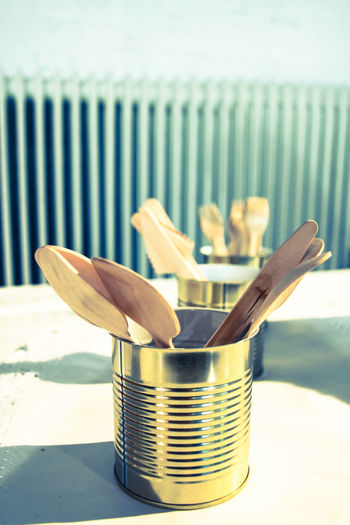 Arrangement Catering Close-up Cutlery Focus On Foreground Fork Group Of Objects Heat In A Row Indoors  Knife No People Spoon Still Life Table Tablecloth Tin Roof Wooden