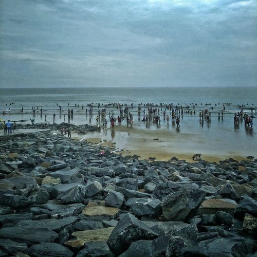 India Water Beach Sea Nature Sky Horizon Over Water Outdoors Day Travel Tranquility Beauty In Nature Sand EyeEm Selects EyeEmNewHere Digha After The Rain Afternoon Sky After The Storm Afternoon Blues Afternoon Walk Rocks Rocks And Water