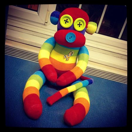 Hand made sock monkeys I make!! This one is supporting autism in children. Arts And Crafts Socks Sockmonkey