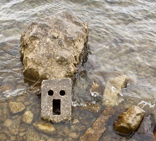 Help EyeEmNewHere ArtWork Congrete Stone Help Art Olefingirl Bodensee Germany Lake Constance No People Water High Angle View Day Outdoors Sea Nature