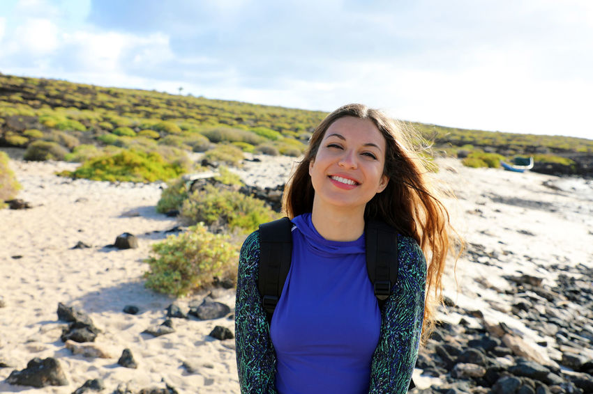 Woman in Lanzarote Landscape_Collection Nature Walking Around Woman Beautiful Woman Casual Clothing Front View Girl Portrait Happiness Hike Hiker Landscape Leisure Activity Looking At Camera One Person Orzola Outdoors Portrait Smiling Smiling Face Standing Woman Portrait Women Young Adult Young Women