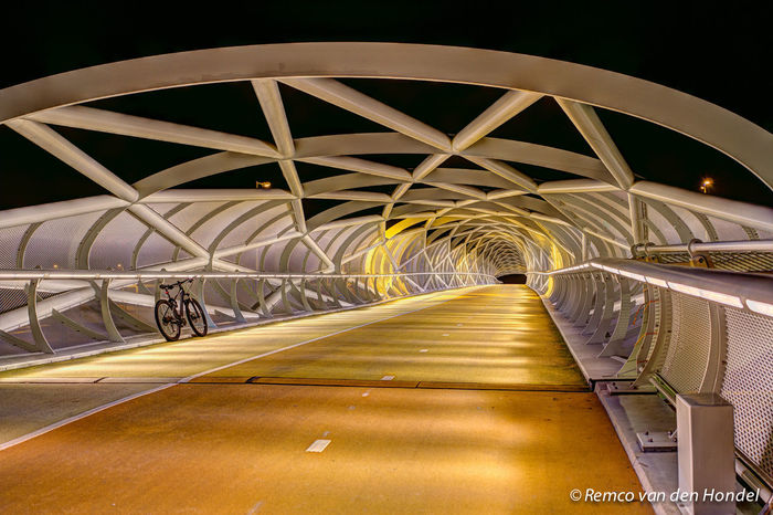 A15 Transportation Architecture Bicycle Road Bridge - Man Made Structure Illuminated Night The Way Forward