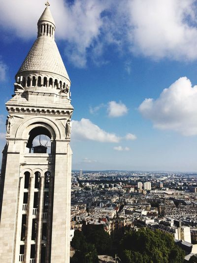 Architecture Built Structure Building Exterior Religion Spirituality Sky Place Of Worship Cloud - Sky Day Outdoors Dome Travel Destinations No People Bell Tower City Cityscape Sacré Coeur, Paris Travel History Tourism Paris France View From Above View Sacre Coeur