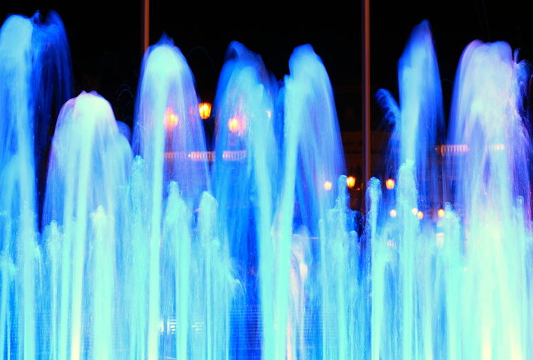 Architecture Blue Blurred Motion Built Structure Burning Close-up Fountain Glowing Illuminated Indoors  Light - Natural Phenomenon Light Trail Lighting Equipment Long Exposure Motion Nature Night No People Pattern