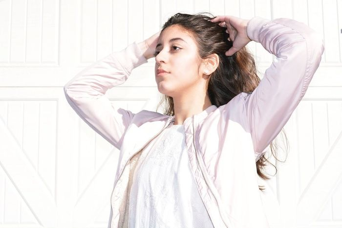 Millennial Pink Freedom Imperfection Free Spirit Portrait Pink Color Imperfection Is Beauty Looking To The Other Side Looking Away White Background Long Hair