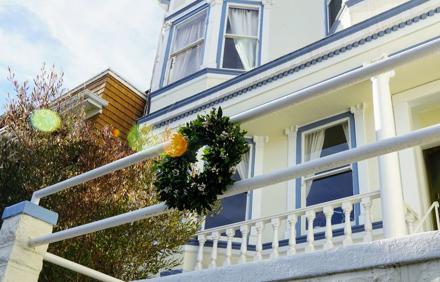 Sunny Christmas in SF Wreath Christmas Decoration City Window Modern Architecture Building Exterior Built Structure Sky