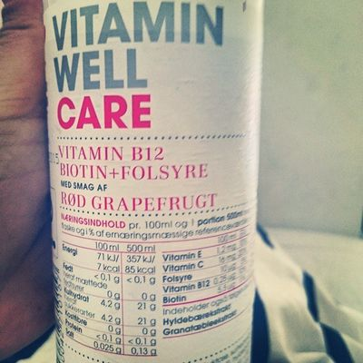 Vitamin Well Care! Vitamin B12, folic acid - taste of red grapefruit. However this bottle is only filled with tap water 😂 no need for carbohydrates on the third restricted day of the week! 52 52diet 52mafia 52food 522015 Health Healthychoice Healthylifestyle Healthylife Fasting Fast Restriction Water Bottledwater Weightloss Nocarbstoday Fitfam Fitfamdk Dinnertonight Calories 500 500calories