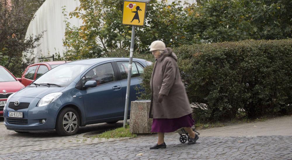 Car Land Vehicle Old Woman Parking Street Waiting