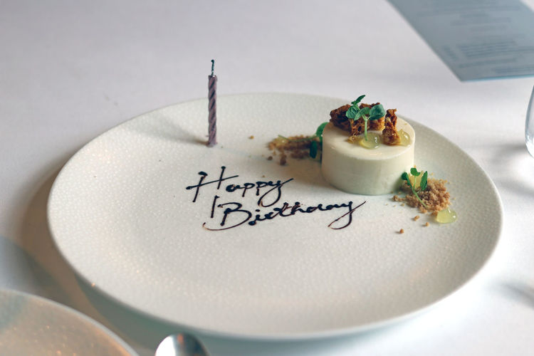 Birthday meal Candle Dessert Happy Birthday London Michelin Star Restaurant Close-up Coconut Panna Cotta Crockery Delicious Meal Dessert England Food Food And Drink Freshness Handwriting  High Angle View Indoors  Marcus No People Plate Still Life Sweet Sweet Food Table Text