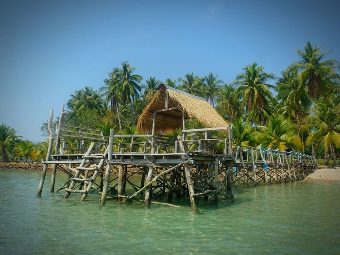 RUSTIC WOODEN PIER AGAINST PALM TREES IN THAILAND