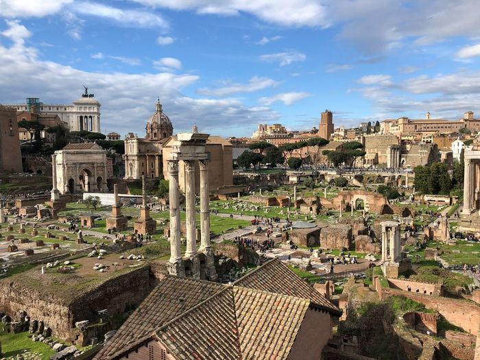 Ruins in roman forum against sky