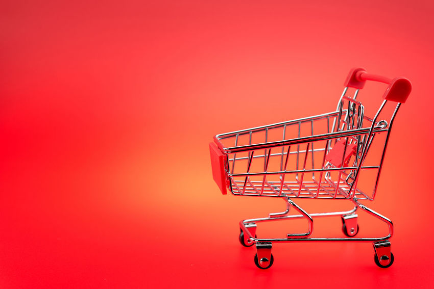Buying Colored Background Consumerism Customer  E-commerce Groceries Red Retail  Shopping Basket Shopping Cart Studio Shot Supermarket Trolley