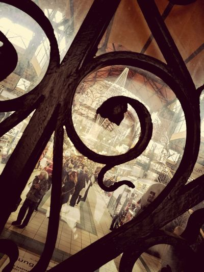 The market. Architecture Market Marketplace Budapest Through The Glass Atmospheric Scene Metalwork Busy Life