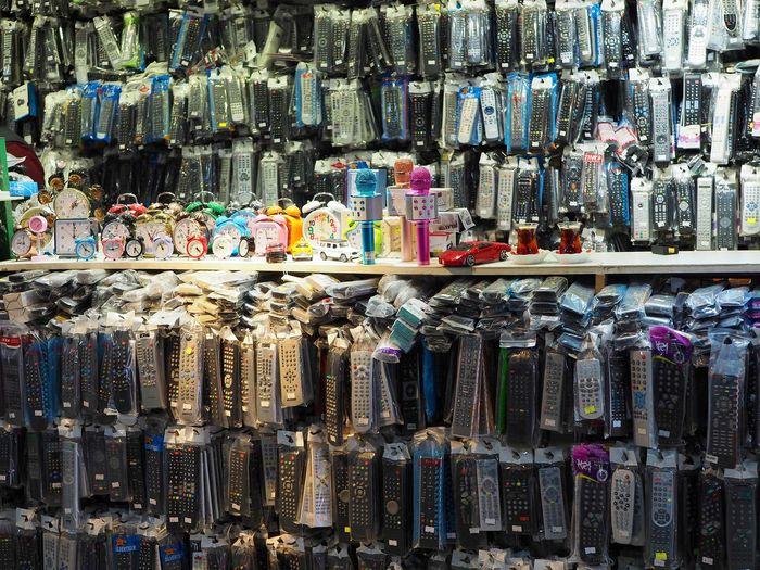Full frame shot of remotes on market stall