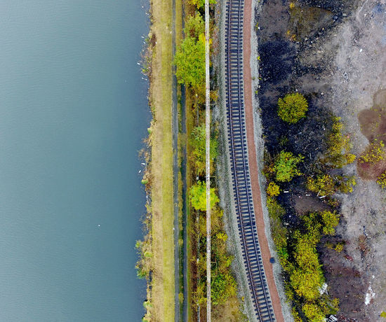 Beauty In Nature Canal Drone  Dronephotography Droneshot Eau Leaves Nature No People Outdoors Picoftheday Rail Railroad Railway Tree Trees Water Waterway