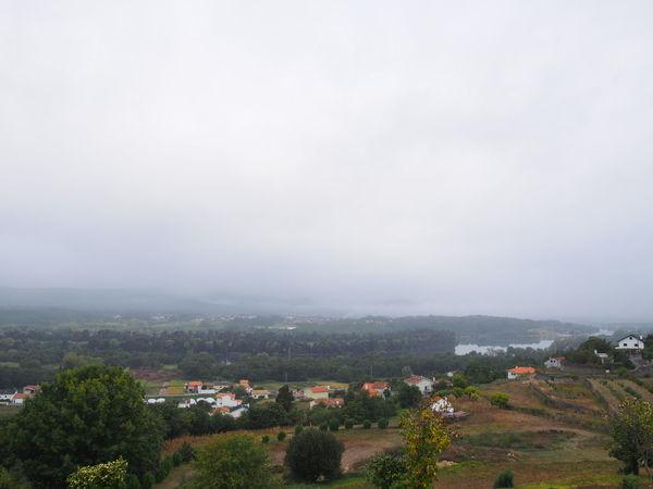 Galicia Morning SPAIN Tui Fog Landscape Sky Village