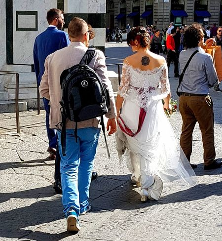 Togetherness Rear View Adult City The Photojournalist - 2017 EyeEm Awards Io Sono Leggenda Enjoying Life Firenze, Italy Feel The Journey The Street Photographer - 2017 EyeEm Awards Streetphotography Capture The Moment Personal Perspective Matrimonio Wedding Photography Wedding Day Wedding Dress Wedding Weddingstory Tatoo !!! ♥♥  Tatuaggio Bellissima Great Atmosphere Bride Sposami