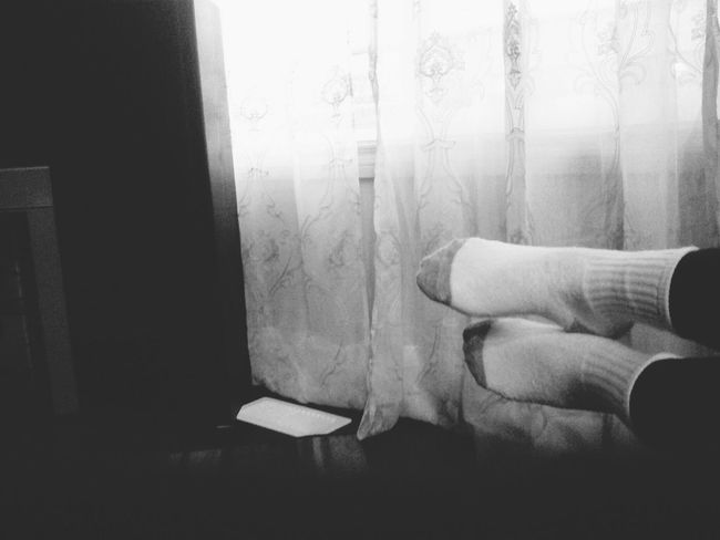 Cold summer night. Relaxing Evening Socks Feet