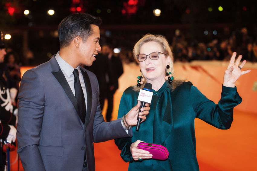 Rome, Italy - October 20, 2016. The American actress Meryl Streep interviewed on the red carpet at the Rome Film Festival. At the Auditorium Parco della Musica. Celebrities Famous People Interview Merylstreep Person Redcarpet Rome Film Festival Two People
