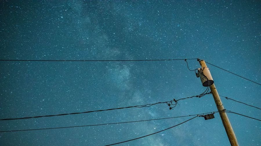 Long Exposure Astrophotography Cable No People Day Nature Blue Electricity  Low Angle View Outdoors Power Line