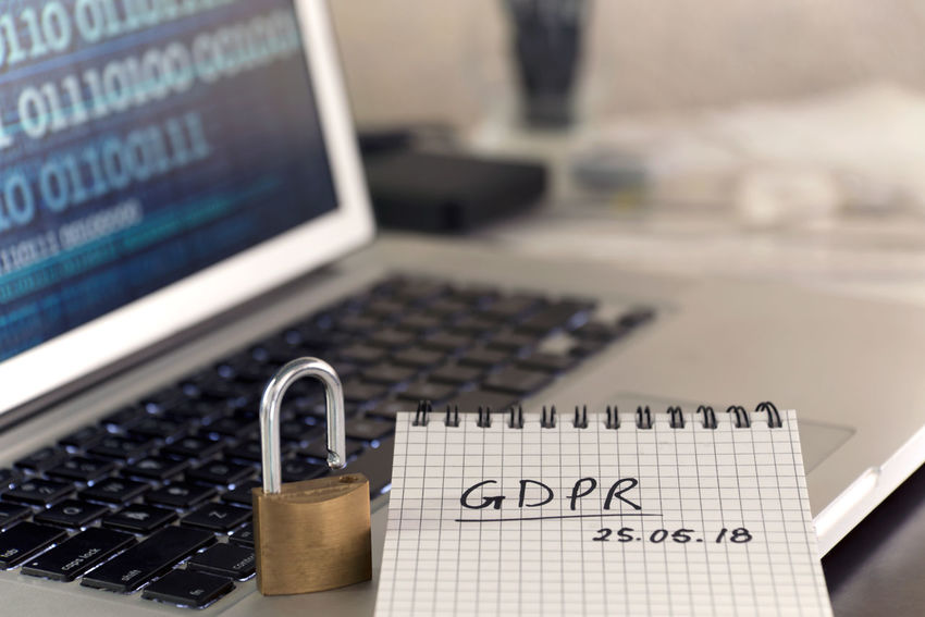 General Data Protection Regulation GDPR concept - new law in 2018 - checklist, notepad on keyboard, with padlock and binary data on screen Business Desktop Security Binary Data Checklist Computer Data Data Protection Datenchutz Dsgvo Europe Gdpr Handwriting  High Angle View Information Internet Keyboard Laptop Law Legal Notepd Padlock Privacy Protection Regulator