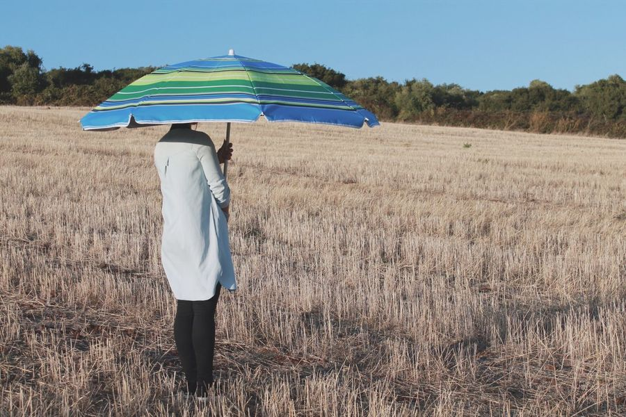 Getting Creative Fieldscape Nature Hanging Out Hello World Taking Photos Girl Umbrella