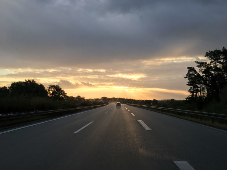 Auto Autobahn Beauty In Nature Car Perspective Cloud Cloudy Country Road Countryside Dawn Diminishing Perspective Dusk Empty Road Empty Road In Germany German Autobahn Highway Morning Road Road Marking Scenics Sky Sunset The Way Forward Tranquility Transportation Vanishing Point