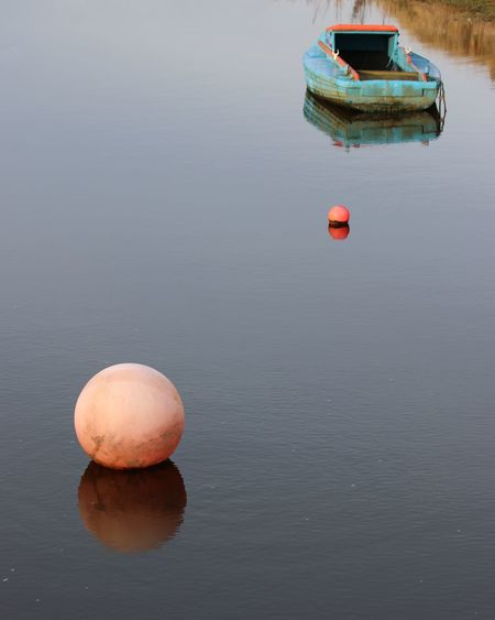 Blue Buoy & Boat Calm Water Colorful Contrasts Outdoors Reflections Still Water