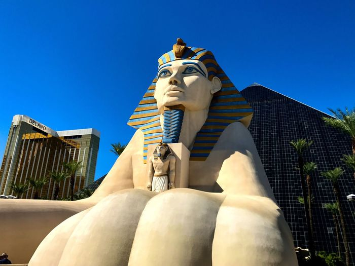EyeEm Selects Statue Low Angle View Art And Craft Sculpture Built Structure Clear Sky Day Blue Architecture Building Exterior No People Outdoors Sky Las Vegas NV Vacations Lifestyles Leisure Activity Travel Destinations Mandalay Bay Hotel