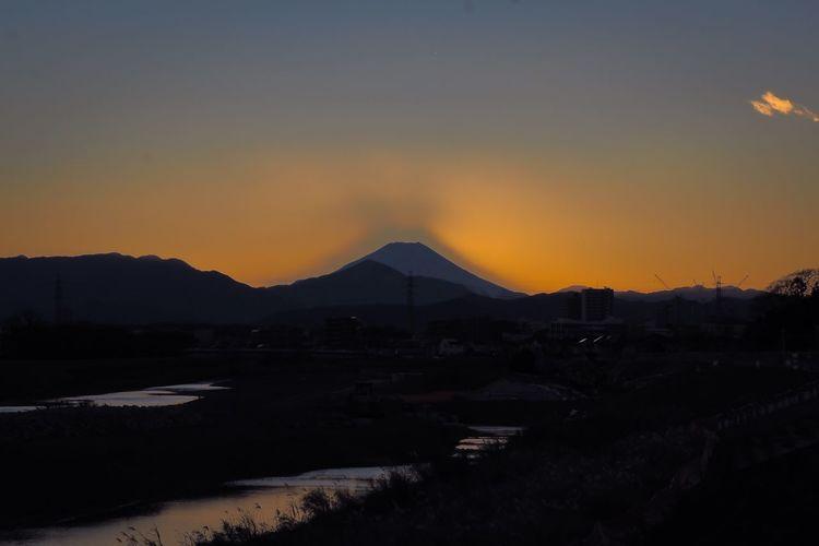 Mt Fuji Fuji Riverside Skyporn Sky Collection Sunset Silhouettes Evening Sky