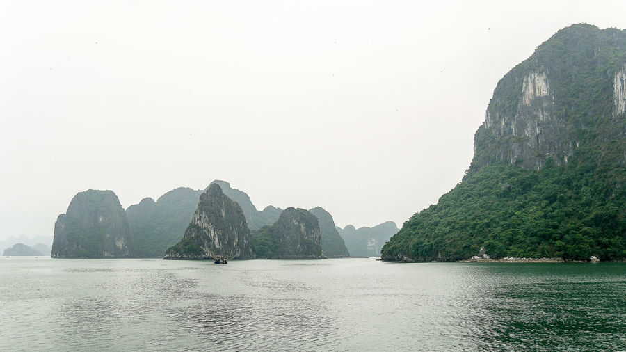 Panoramic view of sea and mountains against clear sky