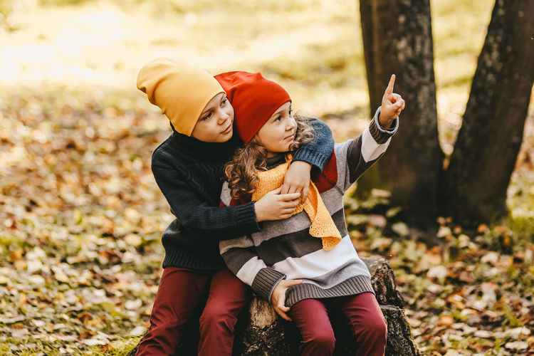 A little girl and a boy children brother and sister hug and sit on a tree stump in the autumn forest