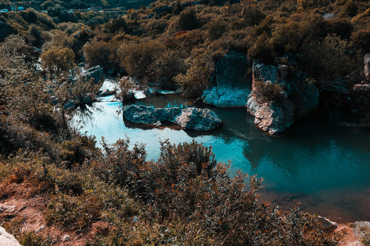 Beautiful nature in Morocco. Beauty In Nature Day Eroded High Angle View Land Marine Nature No People Non-urban Scene Outdoors Plant Rock Rock - Object Rock Formation Scenics - Nature Sea Solid Tranquil Scene Tranquility Tree UnderSea Water