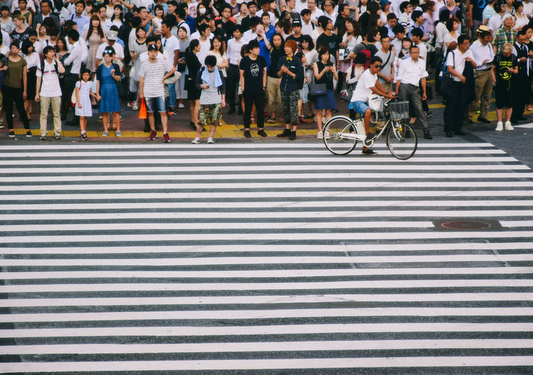 People waiting at zebra crossing