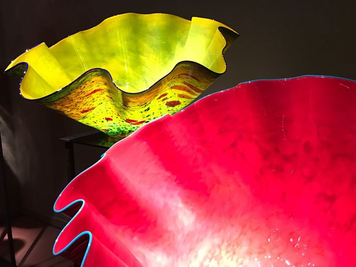 Glass Red Glass Objects  Glass Art Shine Indoors  Musiam Green Color Yellow Green