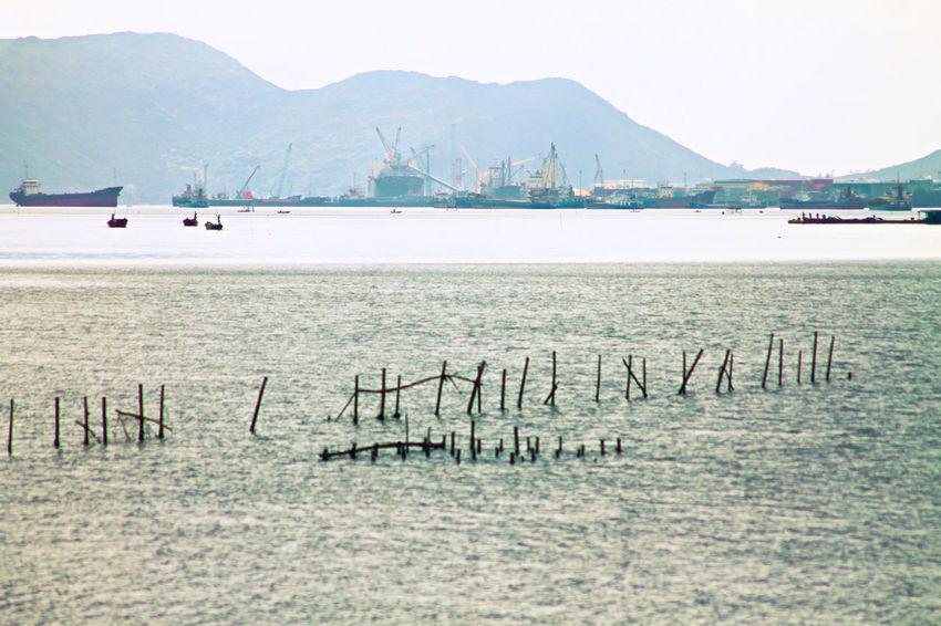 Shipping Docks Shipping Industry Industry Sea Scenics Copy Space Minimalism Fog Dockyard Tranquil Scene Vietnam Vihn,Vietnam Travel Destinations Travel Nautical Vessel Transportation Carriage By Sea Industrialized Water