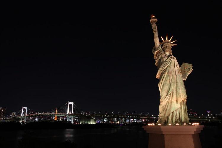 Statue Of Liberty Tokyo Bridge Architecture Bridge City Night Sculpture Statue Travel Travel Destinations